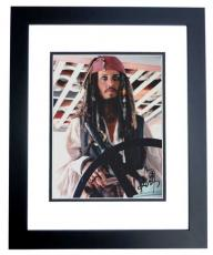 Johnny Depp Autographed Pirates of the Caribbean 8x10 Photo BLACK CUSTOM FRAME