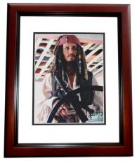 Johnny Depp Autographed Pirates of the Caribbean 8x10 Photo MAHOGANY CUSTOM FRAME