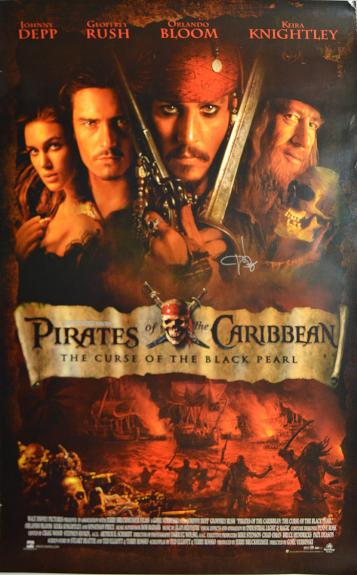 Johnny Depp Autographed Signed Pirates Of The Caribbean 27x39 AFTAL UACC RD COA