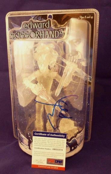 "Johnny Depp Mezco RARE CLEAR 9"" Edward Scissorhands Figure Signed PSA Certified"