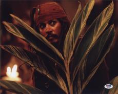 Johnny Depp Pirates Of The Caribbean Autographed 11x14 Photo Psa/dna  Q29940