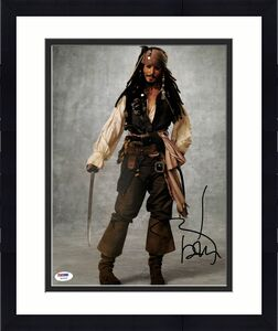 Johnny Depp Pirates Of The Caribbean Signed 11x14 Graded 10! Photo PSA #W04426