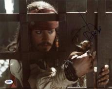Johnny Depp Pirates Of The Caribbean Signed 11X14 Photo PSA #F93023