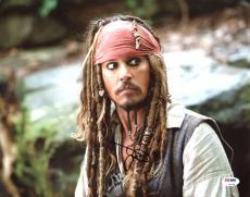 Johnny Depp Pirates Of The Caribbean Signed 11X14 Photo PSA #Z92238