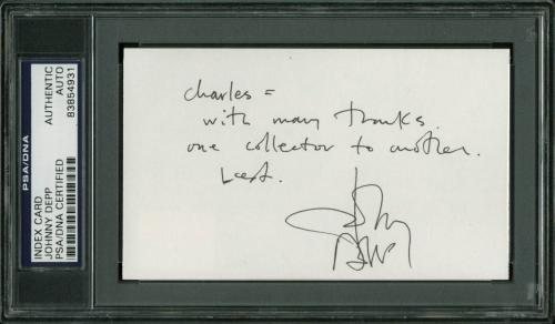 Johnny Depp Pirates Of The Caribbean Signed 3x5 Index Card PSA Slabbed