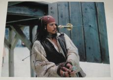 Johnny Depp Signed 11x14 Photo Pirates Of The Caribbean Autograph Coa F