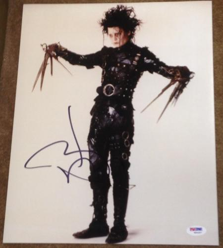 "Johnny Depp Signed Autograph ""edward Scissorhands"" 11x14 Photo Psa/dna W94457"