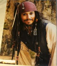 Johnny Depp Signed Autograph Pirates Of The Caribbean Sexy Jack Smile Huge Photo