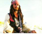 Johnny Depp Signed Autographed 8x10 Pirate Photo AFTAL