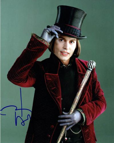 Johnny Depp Signed Autographed 8x10 Willie Wonka Photo AFTAL