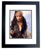 Johnny Depp Signed - Autographed Pirates of the Caribbean - Captain Jack Sparrow 11x14 inch Photo BLACK CUSTOM FRAME - Guaranteed to pass PSA or JSA