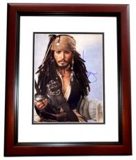 Johnny Depp Signed - Autographed Pirates of the Caribbean - Captain Jack Sparrow 11x14 inch Photo MAHOGANY CUSTOM FRAME - Guaranteed to pass PSA or JSA