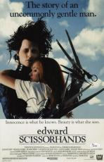 Johnny Depp Signed Edward Scissorhands 11x17 Movie Poster Jsa Coa L87300