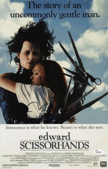 Johnny Depp Signed Edward Scissorhands 11x17 Movie Poster Jsa Coa L87300
