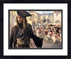 Johnny Depp Signed Pirates Of The Caribbean 11x14 Photo BAS Beckett E49571