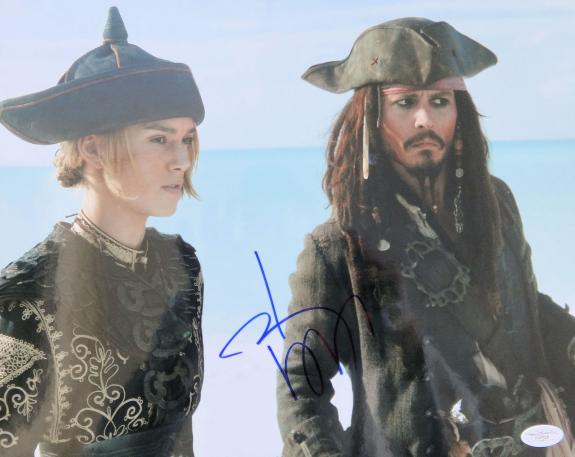 Johnny Depp Signed Pirates Of The Caribbean 11x14 Photo JSA
