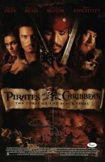 Johnny Depp Signed Pirates Of The Caribbean 11x17 Movie Poster Jsa Coa L87295