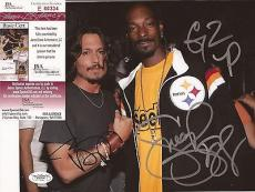 Johnny Depp & Snoop Dogg Movie/music Legends Jsa Coa Signed 8x10 Photo Rare!!!