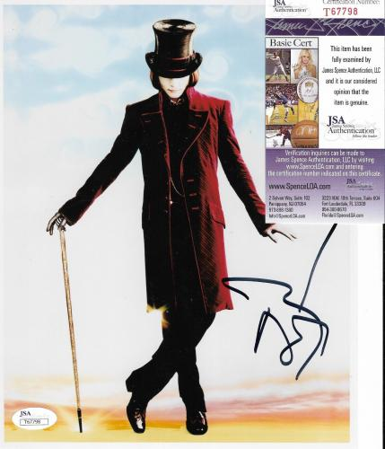 Johnny Depp Willy Wonka Movie Signed Autograph 8x10 Photo Jsa Coa #t67798