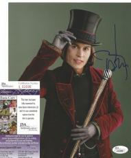 "Johnny Depp ""willy Wonka"" Signed Autographed 8x10 Photo Jsa Coa #l53096 Rare"