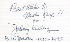 Johnny Kelley Signed - Autographed Boston Marathon Runner RARE 3x5 Inch Index Card with Inscriptions - Deceased 2004