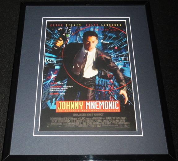 Johnny Mnemonic Framed 8x10 Repro Poster Display Keanu Reeves Dolph Lundgren