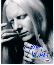 Johnny Winter signed B&W 8x10 photo PSA/DNA autograph