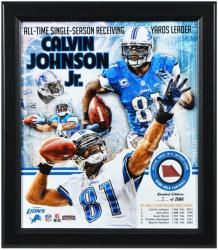 Calvin Johnson Detroit Lions Framed 15'' x 17'' Multi-Photo Collage with Game Used Football-Limited Edition of 581 - Mounted Memories