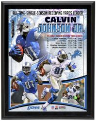 "Calvin Johnson Detroit Lions All-Time Receiving Yard Record Sublimated 10.5"" x 13"" Player Collage Photo Plaque - Mounted Memories"