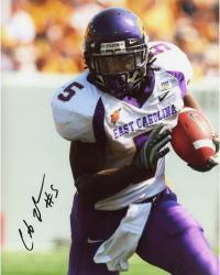 JOHNSON, CHRIS AUTO (ECU/FRONT VIEW/RUNNING/BALL) 8X10 PHOTO - Mounted Memories