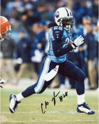 JOHNSON, CHRIS AUTO (TITANS/VS BROWNS/RUNNING/BALL) 8x10 - Mounted Memories