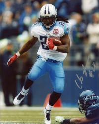 JOHNSON, CHRIS AUTO (TITANS/VS SEAHAWKS/RUNNING/BALL) 8x10 - Mounted Memories