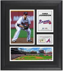 "Chris Johnson Atlanta Braves Framed 15"" x 17"" Collage with Game-Used Baseball - Mounted Memories"