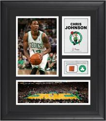 Chris Johnson Boston Celtics Framed 15'' x 17'' Collage with Team-Used Ball - Mounted Memories