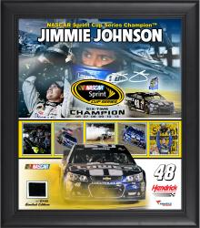 "Jimmie Johnson 6-Time Sprint Cup Series Champion Framed 15"" x 17"" Collage with Race-Used Champ Tire - Limited Edition of 648"