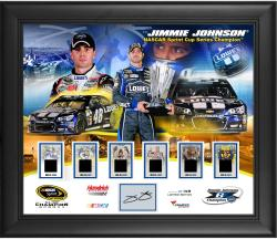 Jimmie Johnson 6-Time Sprint Cup Series Champion Framed Collage with Autographed Plate and Race-Used Champ Tire - Limited Edition of 148