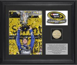 Jimmie Johnson 2013 Sprint Cup Series Champion Framed 2-Photograph Collage with Gold-Plated Coin & Descriptive Plate - Limited Edition of 348 - Mounted Memories