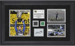 Jimmie Johnson 2013 Sprint Cup Series Champion Framed 3-Photograph Collage with Race-Used Flag & Tire & Autographed Plate - Limited Edition of 148