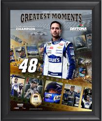 Jimmie Johnson Framed 16'' x 20'' Film Strip Composite with Piece of Daytona Sign-Limited Edition of 500 - Mounted Memories