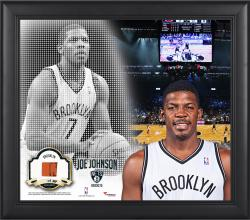 "Joe Johnson Brooklyn Nets Framed 15"" x 17"" Mosaic Collage with Team-Used Basketball-Limited Edition of 99"
