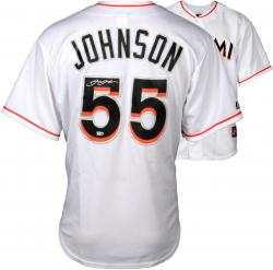 Josh Johnson Miami Marlins Autographed White Majestic Replica Jersey - Mounted Memories