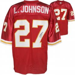 Larry Johnson Kansas City Chiefs Autographed Custom Red Jersey  - Mounted Memories