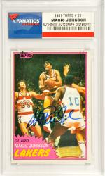 Magic Johnson Los Angeles Lakers Autoraphed 1981 Topps #21 Card - Mounted Memories