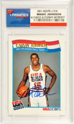 Magic Johnson Los Angeles Lakers Autographed 1991 Hoops USA Basketball #578 Card - Mounted Memories