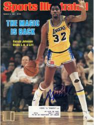 Magic Johnson Los Angeles Lakers Autographed Sports Illustrated Magic Back with Label Magazine - Mounted Memories