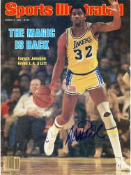 Magic Johnson Los Angeles Lakers Autographed Sports Illustrated Magic Back with No Label Magazine - Mounted Memories