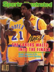 Magic Johnson Los Angeles Lakers Autographed Sports Illustrated With Cooper Magazine - Mounted Memories
