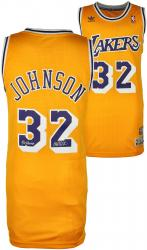 Magic Johnson Los Angeles Lakers Autographed Adidas Swingman Gold Jersey with 5X NBA Champs Inscription - Mounted Memories