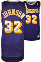 Magic Johnson Los Angeles Lakers Autographed Adidas Swingman Purple Jersey with 5X NBA Champs Inscription - Mounted Memories