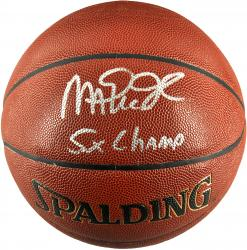 Magic Johnson Los Angeles Lakers Autographed Spalding Indoor Outdoor Basketball with 5X NBA Champs Inscription - Mounted Memories